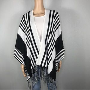 Johnny Becca black white striped fringe poncho